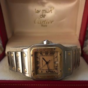 💯Authentic Cartier 18kt & Stainless Santos Watch